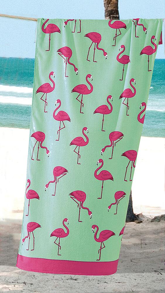 Toalha de Praia Dohler Multi Flamingos Aveludada 100% Algodão