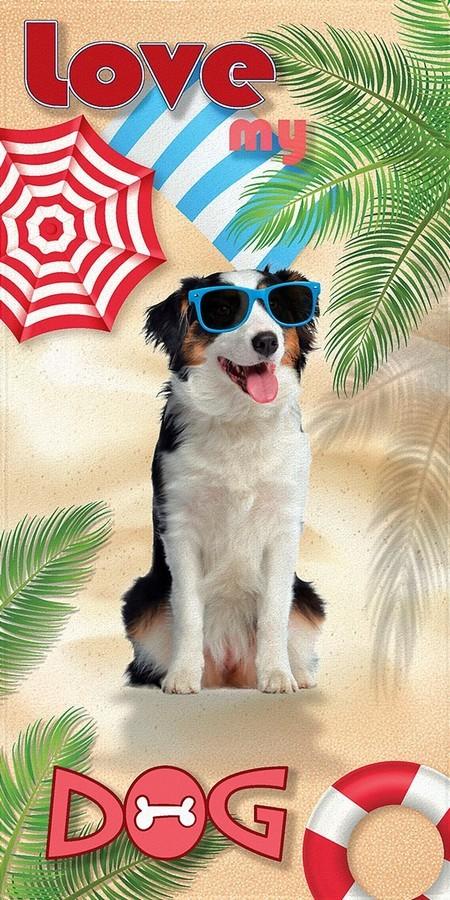Toalha de Praia Lepper Aveludada Estampa Transfer Love My Dog