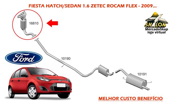 CATALISADOR FIESTA 1.6 HATCH SEDAN 2009 A 2013 MOTOR ZETEC ROCAM FLEX SELO INMETRO