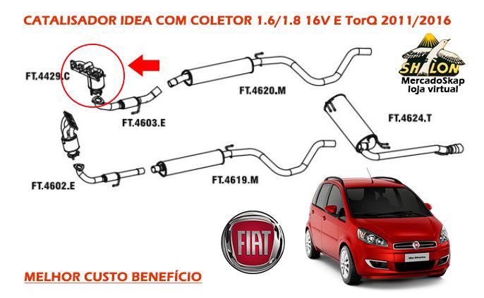 CATALISADOR IDEA COM COLETOR 1.6/1.8 16V E TorQ 2011/2016 - SELO INMETRO