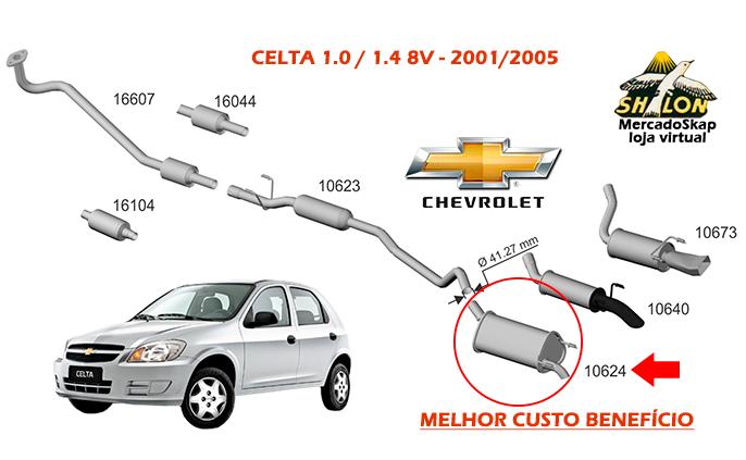 ESCAPAMENTO CELTA 1.0 1.4 2001 A 2005 TRASEIRO TUPER