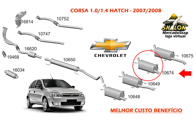 ESCAPAMENTO CORSA 1.0 1.4 HATCH TRASEIRO 2007 A 2009 TUPER