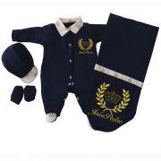 Kit Saída de Maternidade Azul Marinho Imperial Dourado f05c2ec3aa2