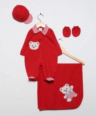 Kit Saída de Maternidade Basic Ursinho Vermelho. - Elegância Baby 0750e8a31ba