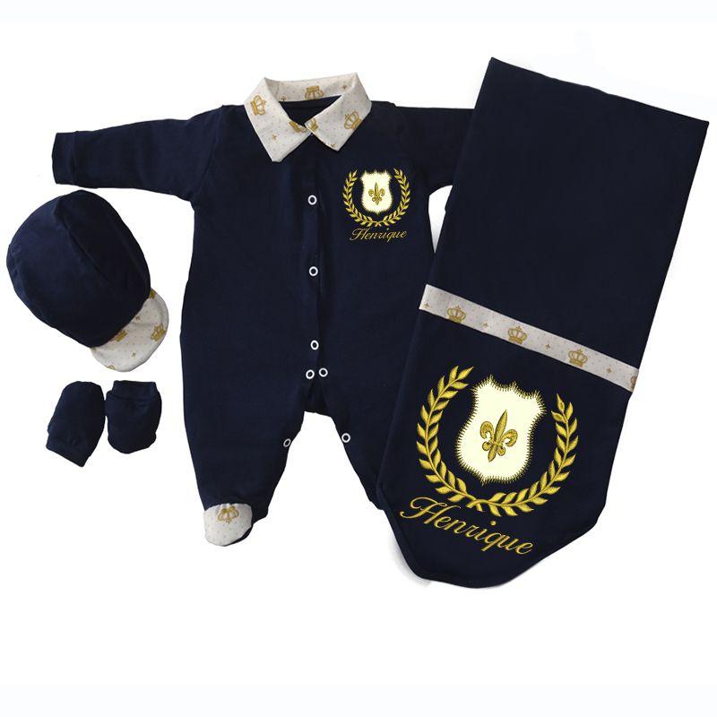 Kit Saída de Maternidade Brasão Realeza Azul e Dourado - Elegância Baby 3d20e41fc82