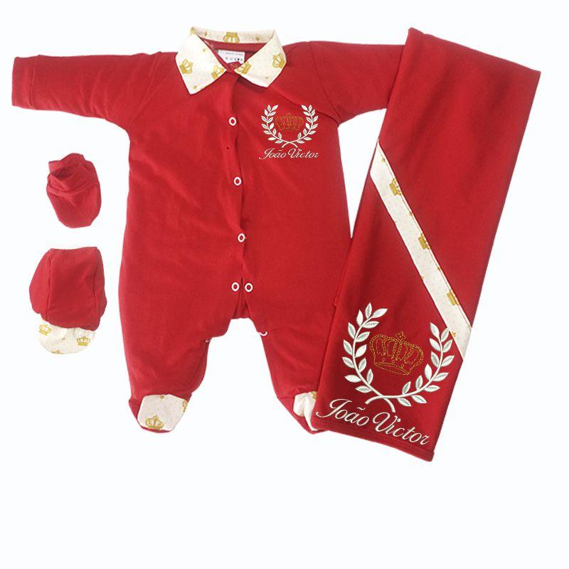 Kit Saída de Maternidade Vermelha Imperial Branco - Elegância Baby 907dfe8d3d6