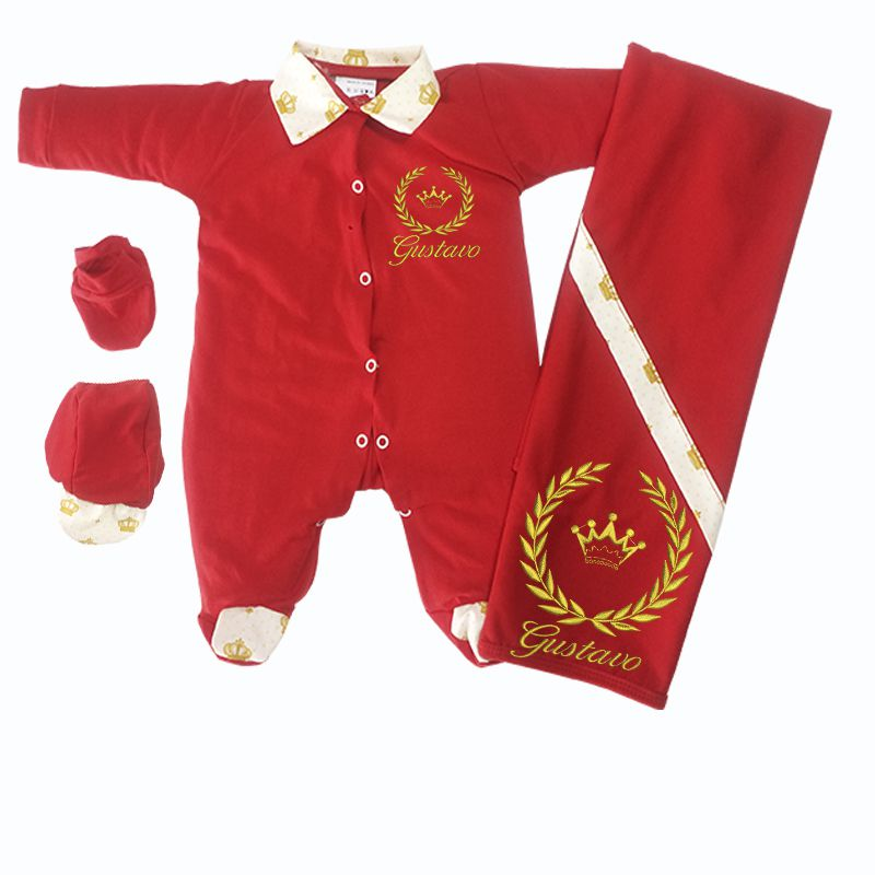 3194169dfa39 Saída de Maternidade Vermelha Coroa Dourada - Elegância Baby