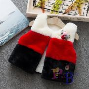 Colete de pelúcia tricolor