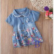 Vestido Jeans Floral Amora
