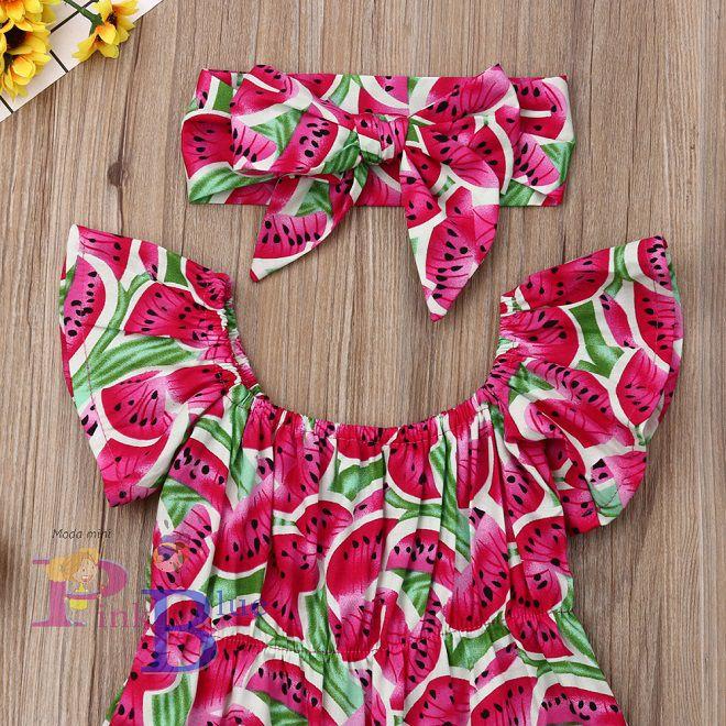 Romper melancia ciganinha + faixa pink
