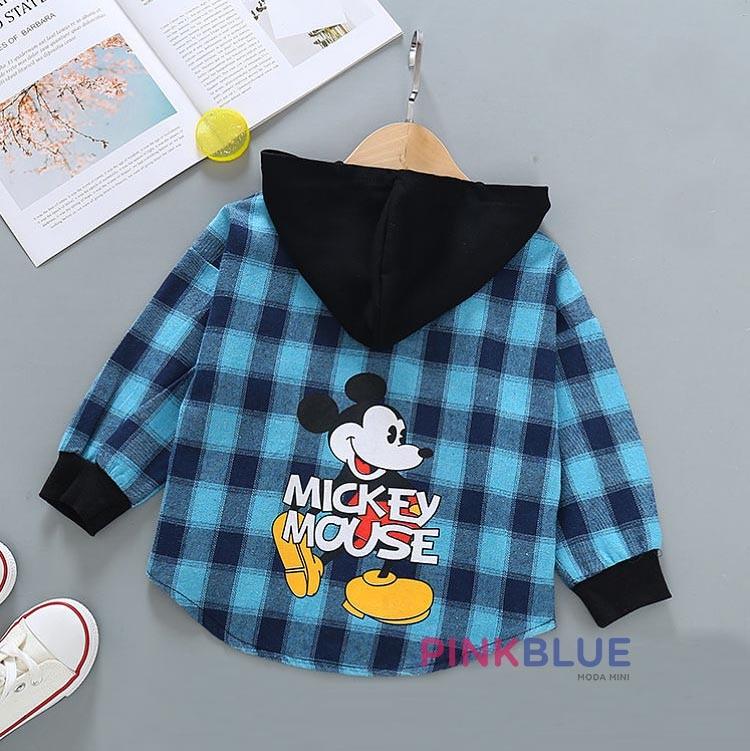 Camisa xadrez Mickey com capuz