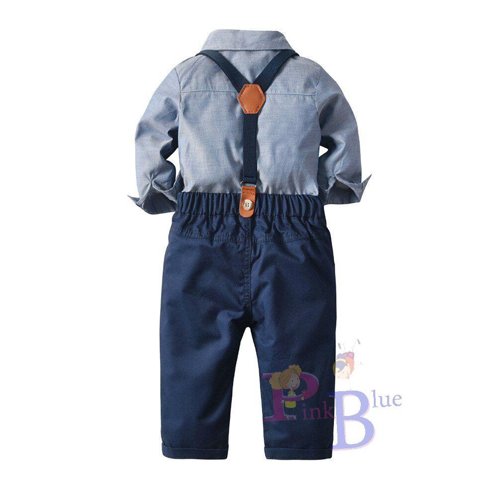 Conjunto de calça e camisa manga longa com suspensório Bernardo
