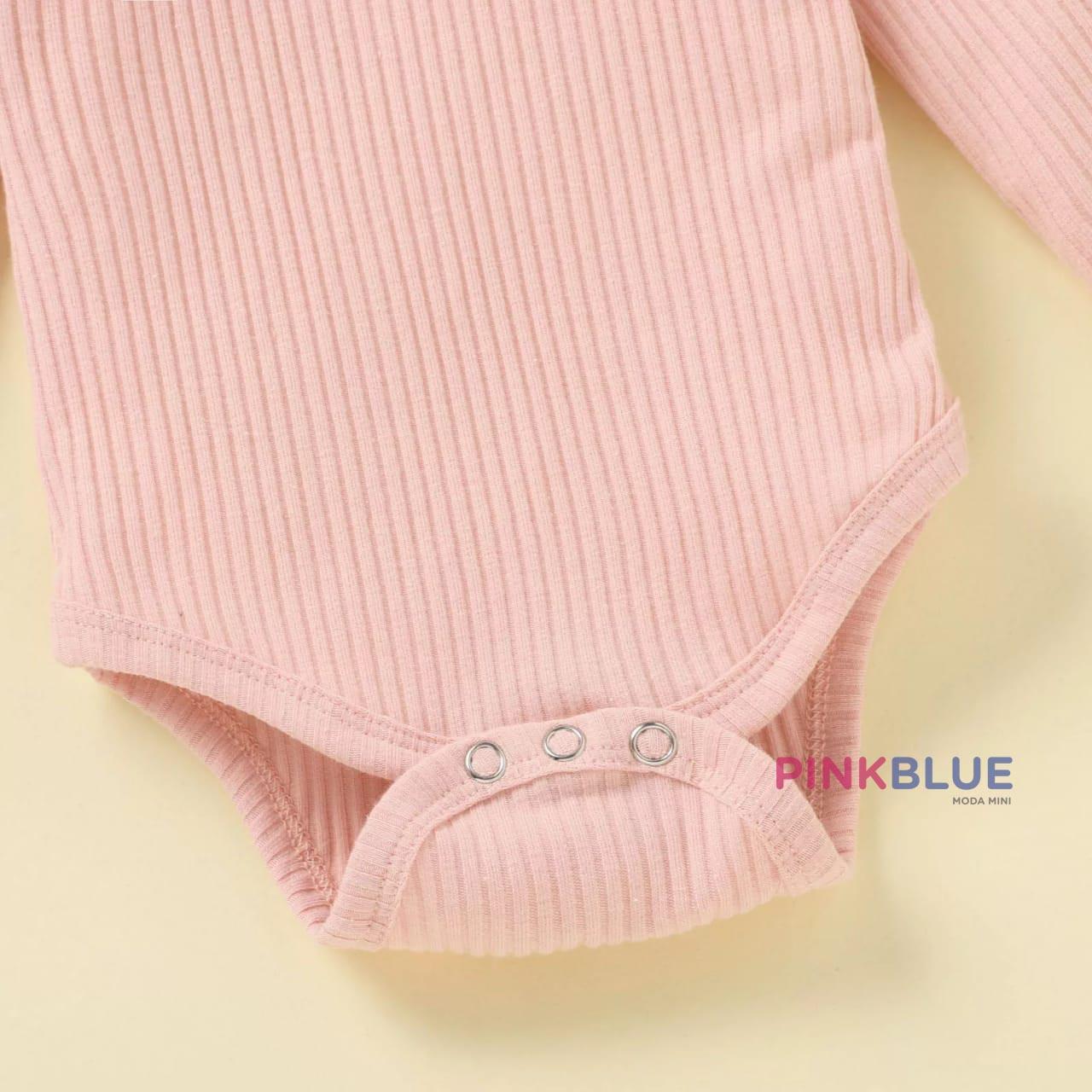Conjunto body canelado oncinha rosa