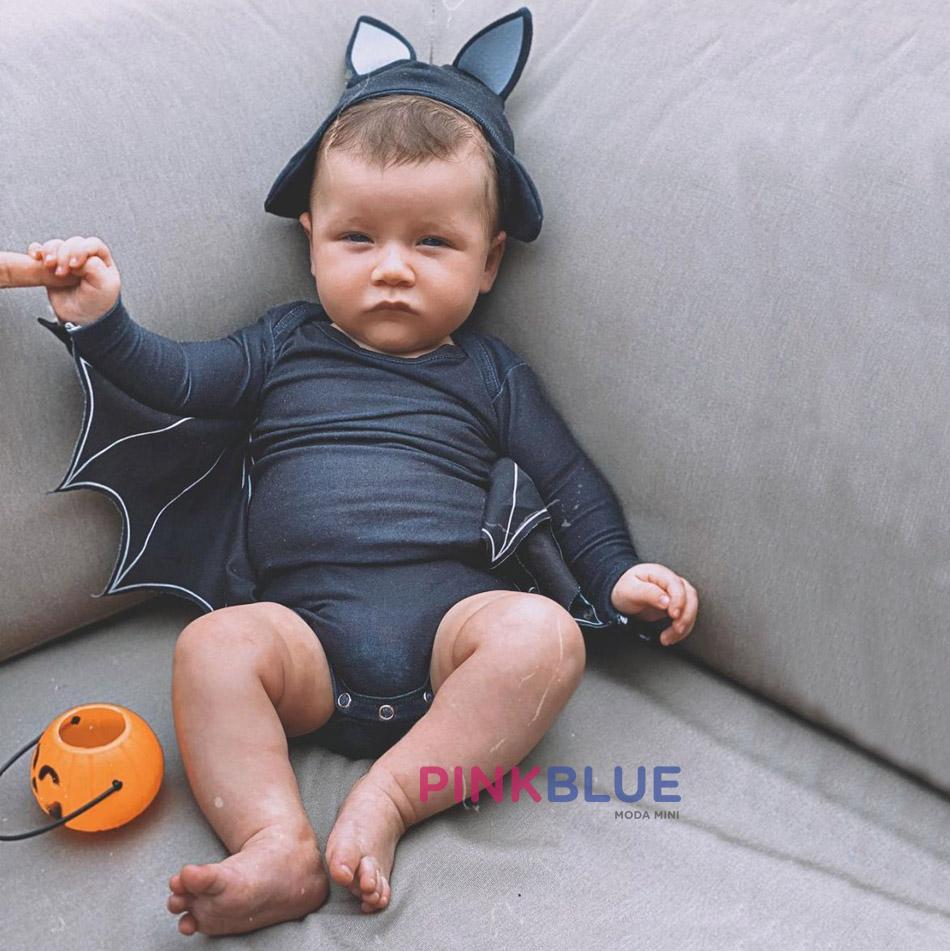 Conjunto de body com calça e gorro morcego