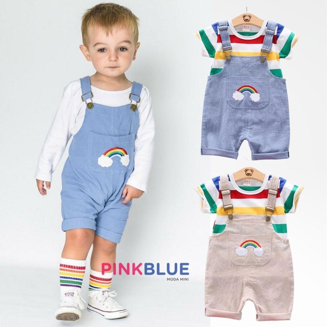 Conjunto de jardineira e camiseta arco-íris