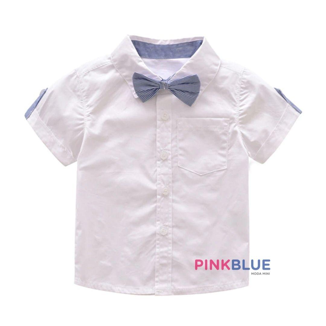 Conjunto luxo de camisa e bermuda com suspensório George