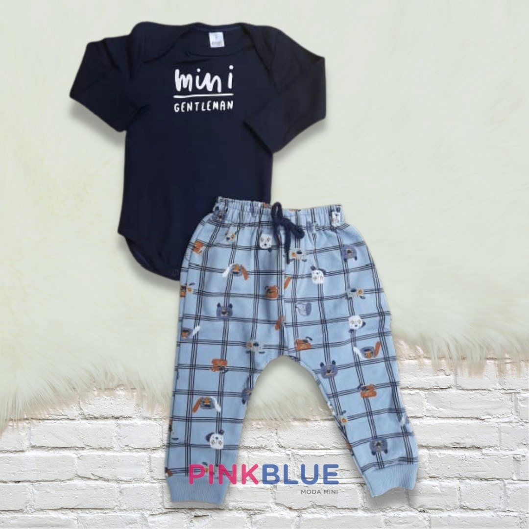 Conjunto de body e calça mini gentleman