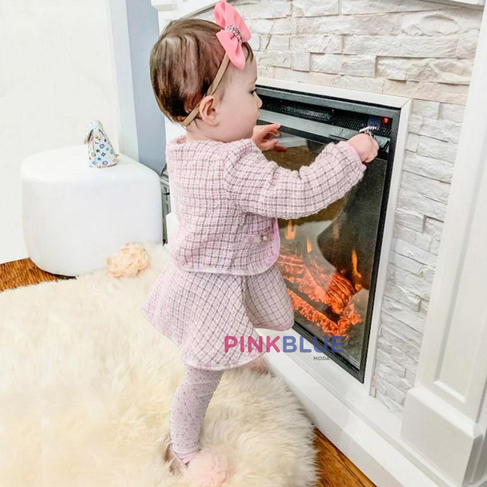 Conjunto tweed chanel rosa
