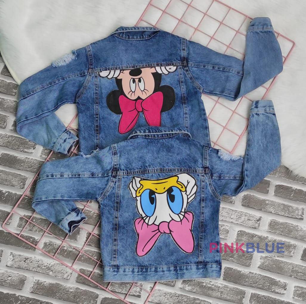 Jaqueta jeans destroyed Minnie e Margarida