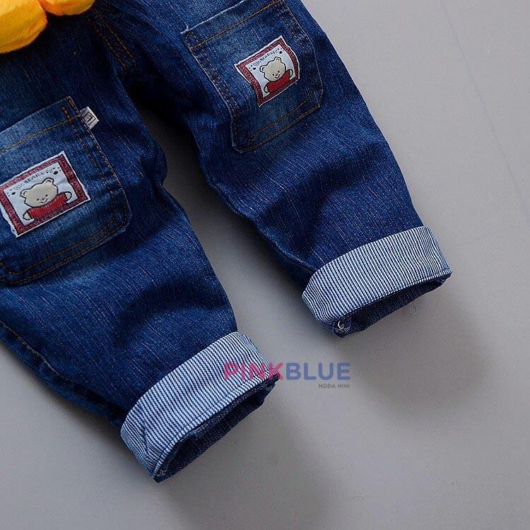 Jardineira (macacão) Jeans Mickey pelúcia