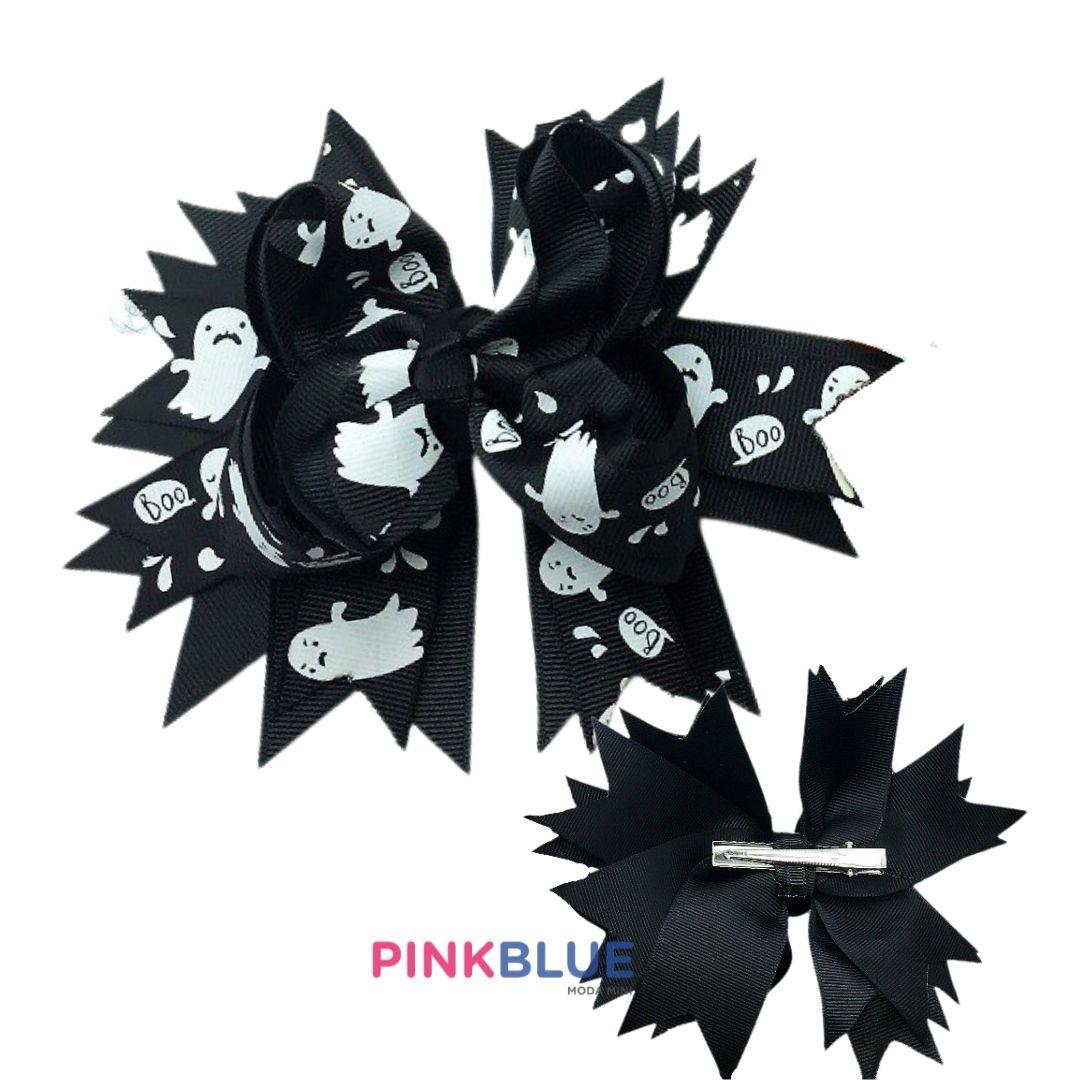 Laço boutique grande no bico de pato black halloween