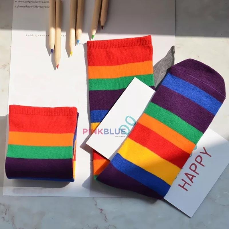 Meia colorida rainbow