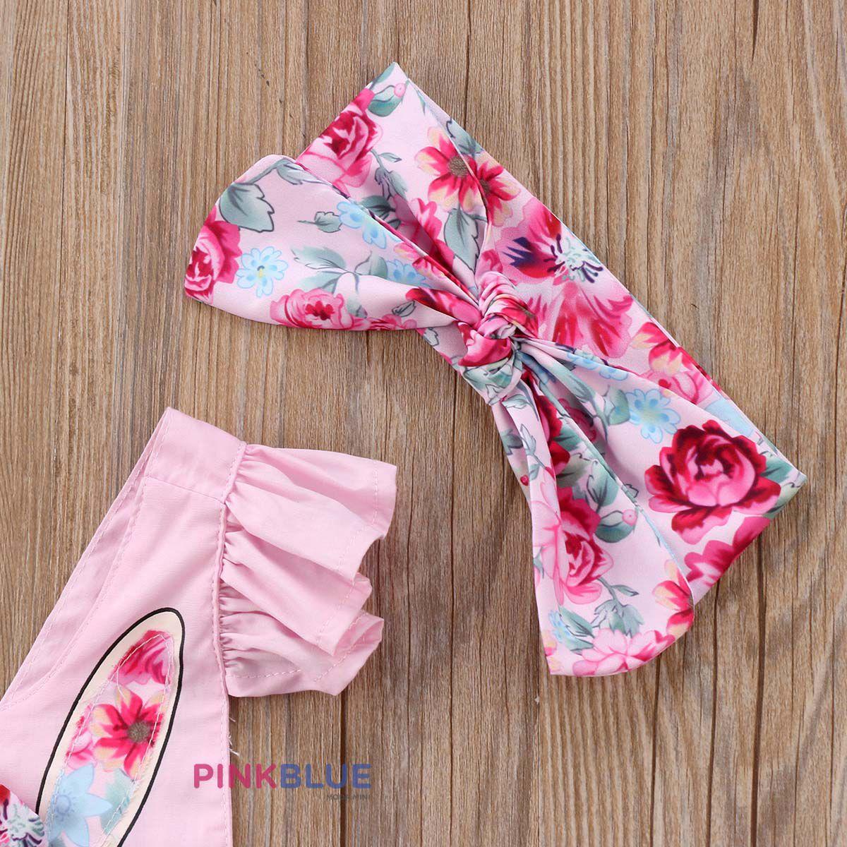 Romper coelhinho floral pink com faixa