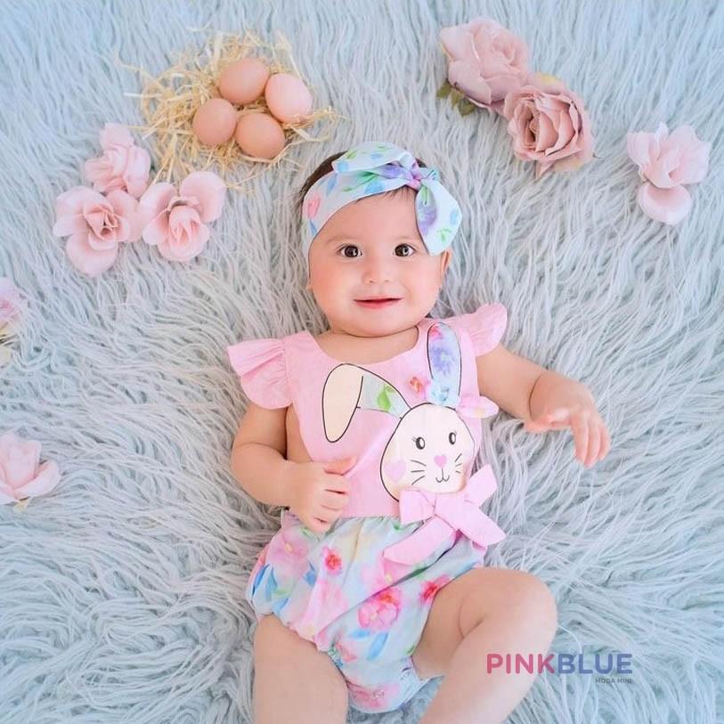 Romper coelhinho floral pastel com faixa