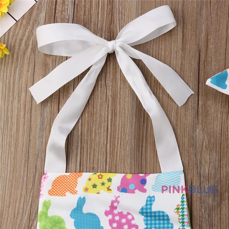 Romper coelhinhos coloridos com faixa