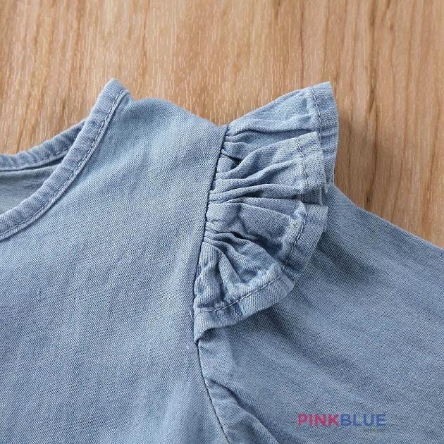 Romper manga longa jeans