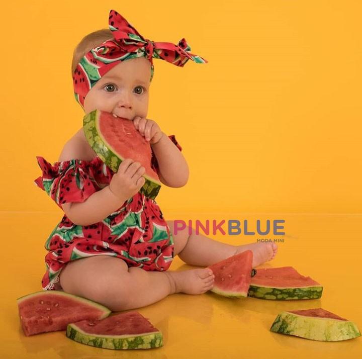 Romper melancia ciganinha + faixa vermelho