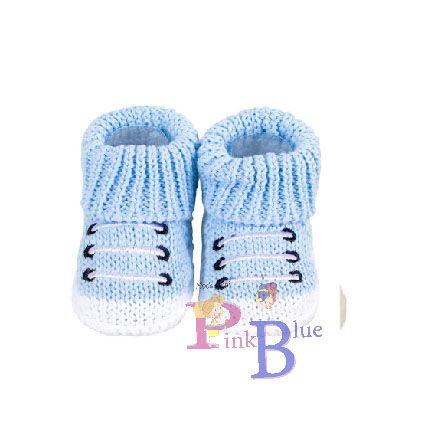 Sapatinho de tricô tênis azul