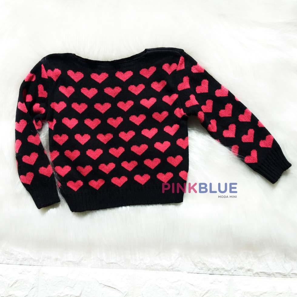 Sueter tricô coração
