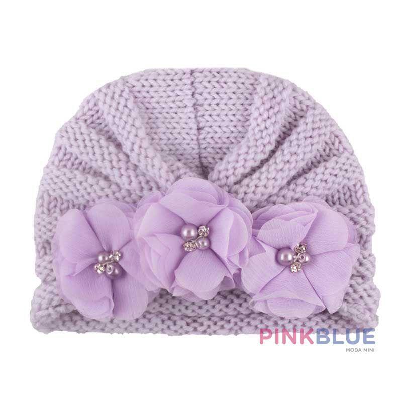 Touca turbante tricot com flores