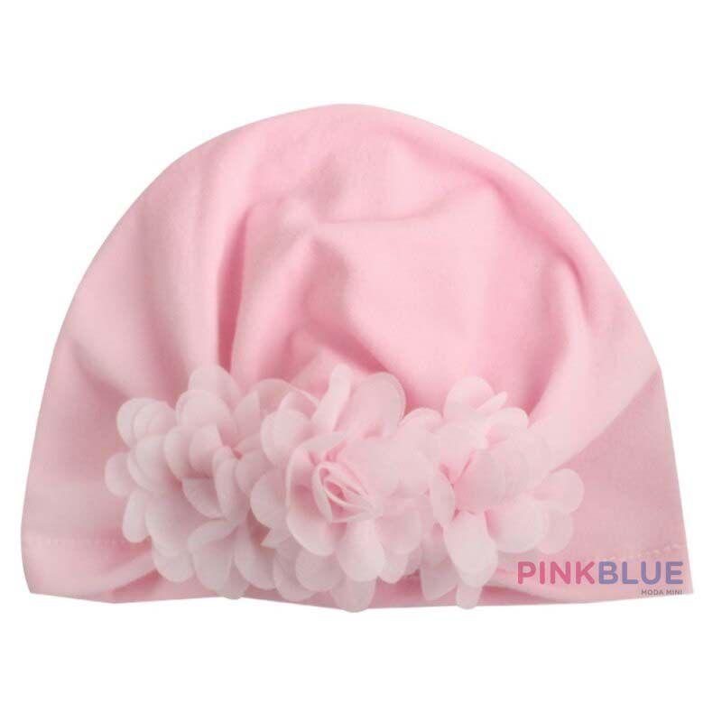 Touca turbante com flores
