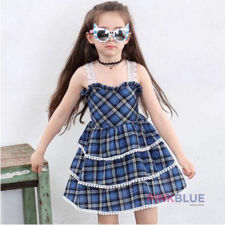 Vestido azul xadrez