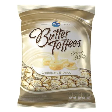 BALA BUTTER TOFFEES CHOCOLATE BRANCO 600G