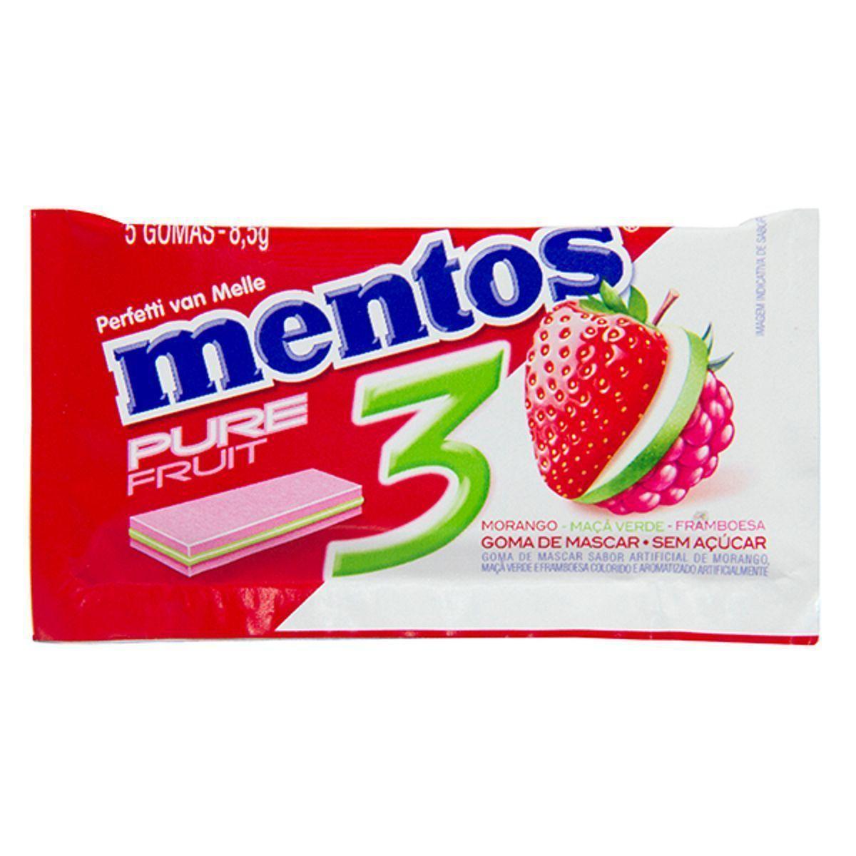 MENTOS PURE FRUIT 3L MORANGO /MAÇA/ FRAMBOESA
