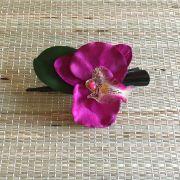 Bico de Pato Marrom Orquídea Roxa com Folha