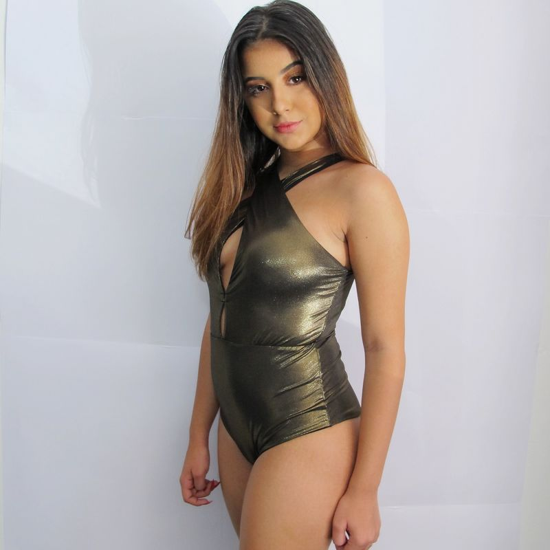 Body Maiô Cruzado Dupla Face Bronze