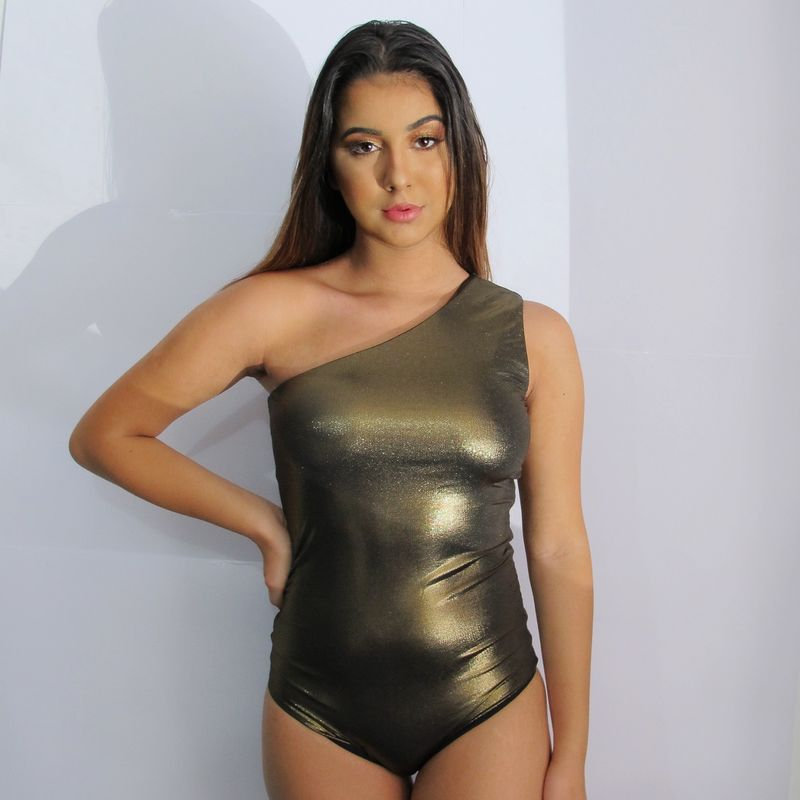 Body Maiô Mula Ombro Manca Dupla Face Bronze