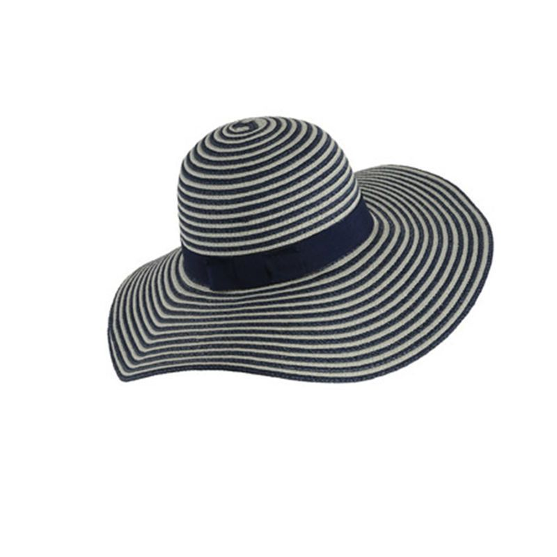 Chapéu de Palha Azul Listrado Aba Grande