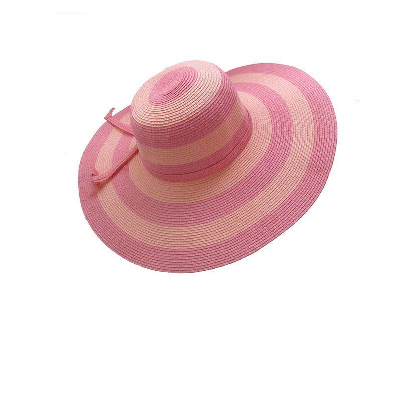 Chapéu de Palha Rosa Listrado Aba Grande