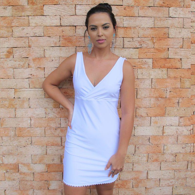 Vestido Decote V Branco