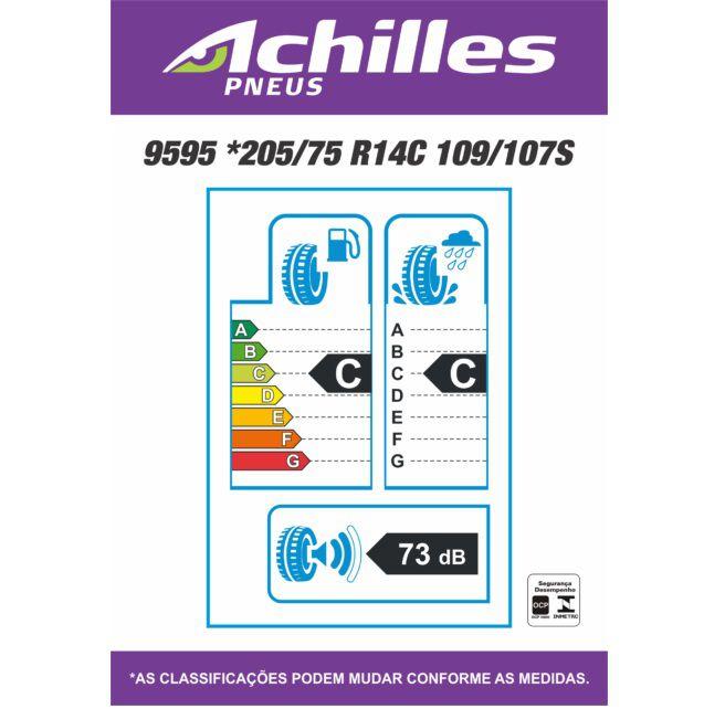 Kit 02 Pneus 205/75 R 14 C 9595 109S Achilles Faixa Branca