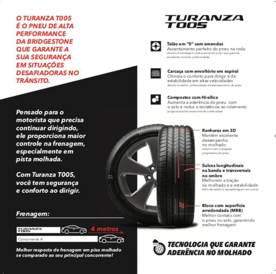 Pneu 225/45 R 18 - Turanza T005 95Y - Bridgestone