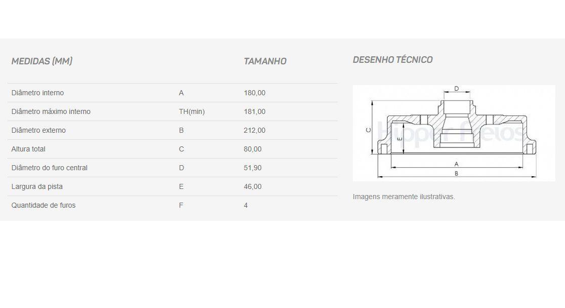 TAMBOR FREIO TRASEIRO 180MM 4 FUROS C/ CUBO - HF735 HIPPER FREIOS