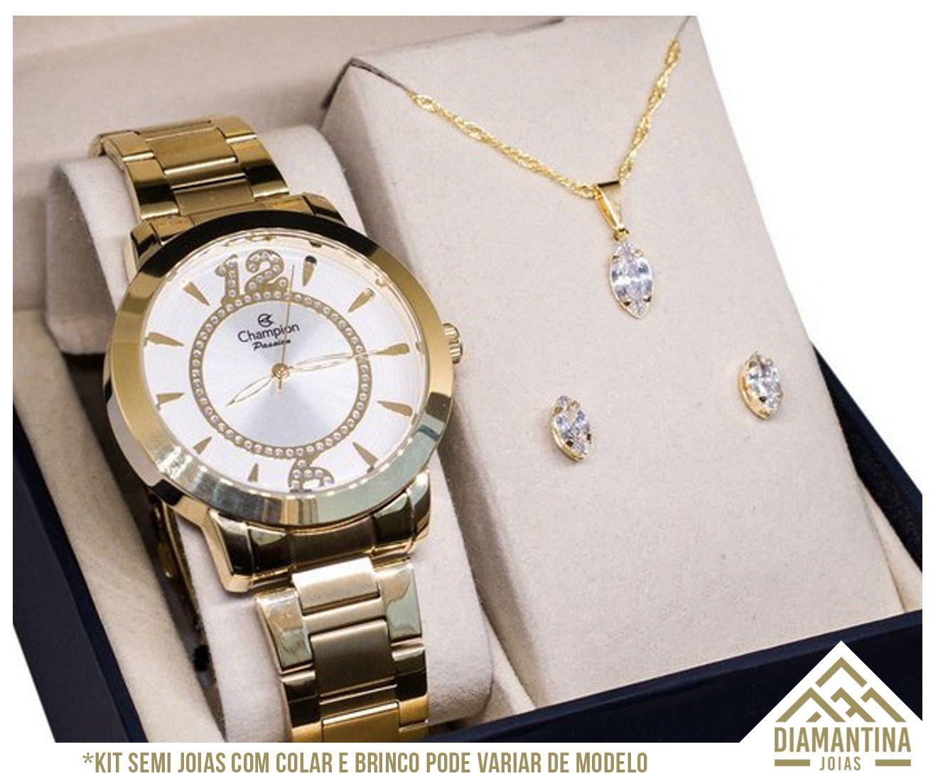 82144007d4 Relógio Feminino Dourado Champion Ch24259h Com Kit Semijoias