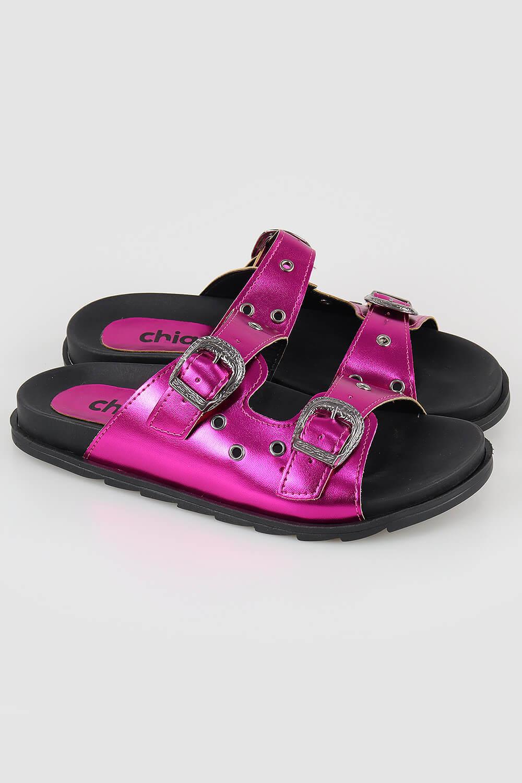 Sandália Chiqui Slide Birken Ilhós Metalizado Pink