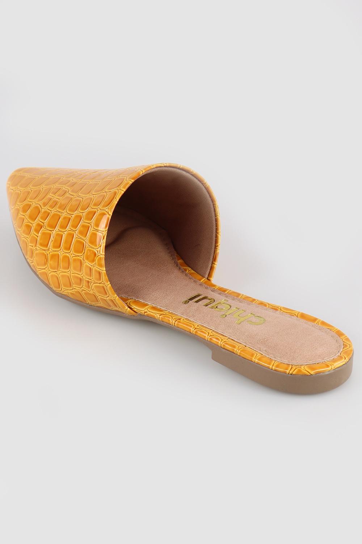Mule Chiqui Bico Fino Croco Amarelo AC